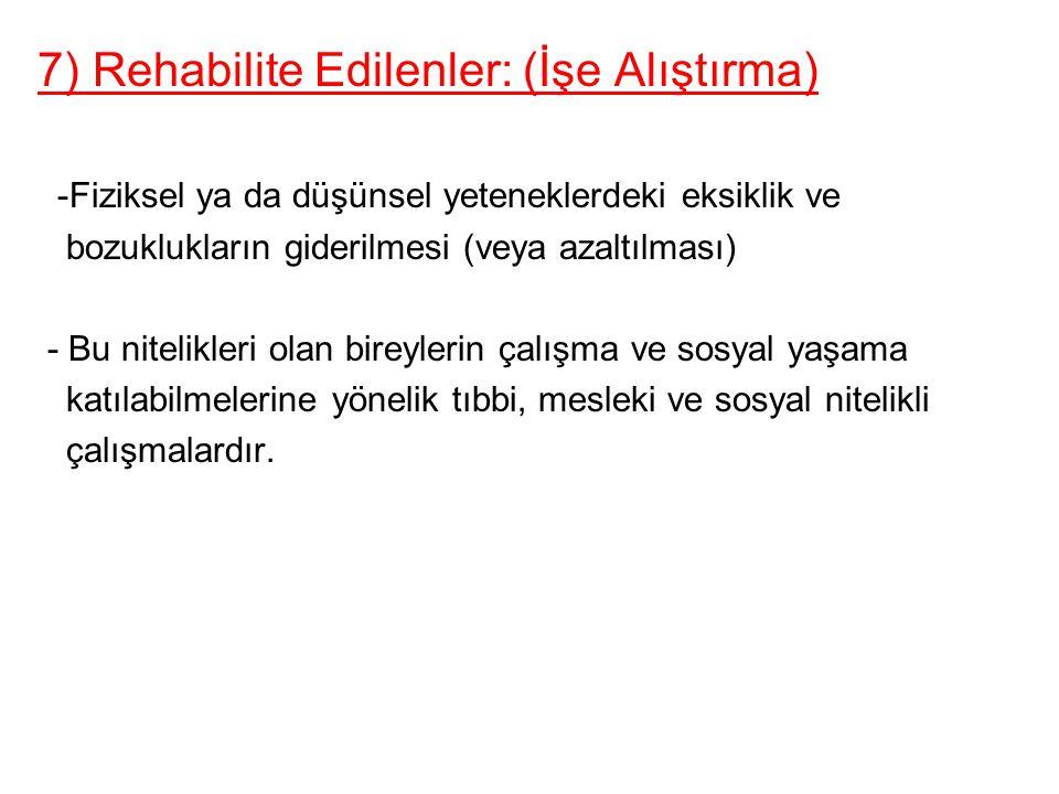 7) Rehabilite Edilenler: (İşe Alıştırma)