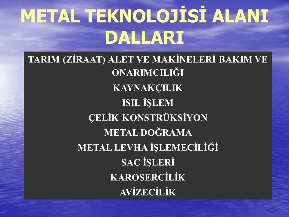 METAL TEKNOLOJİSİ ALANI DALLARI