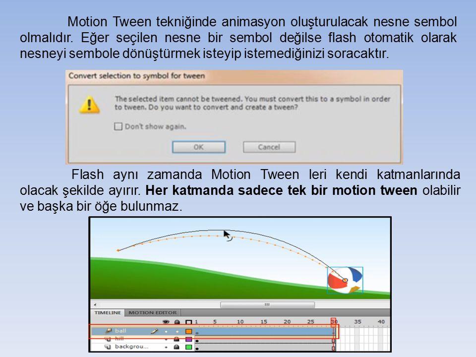 Motion Tween tekniğinde animasyon oluşturulacak nesne sembol olmalıdır
