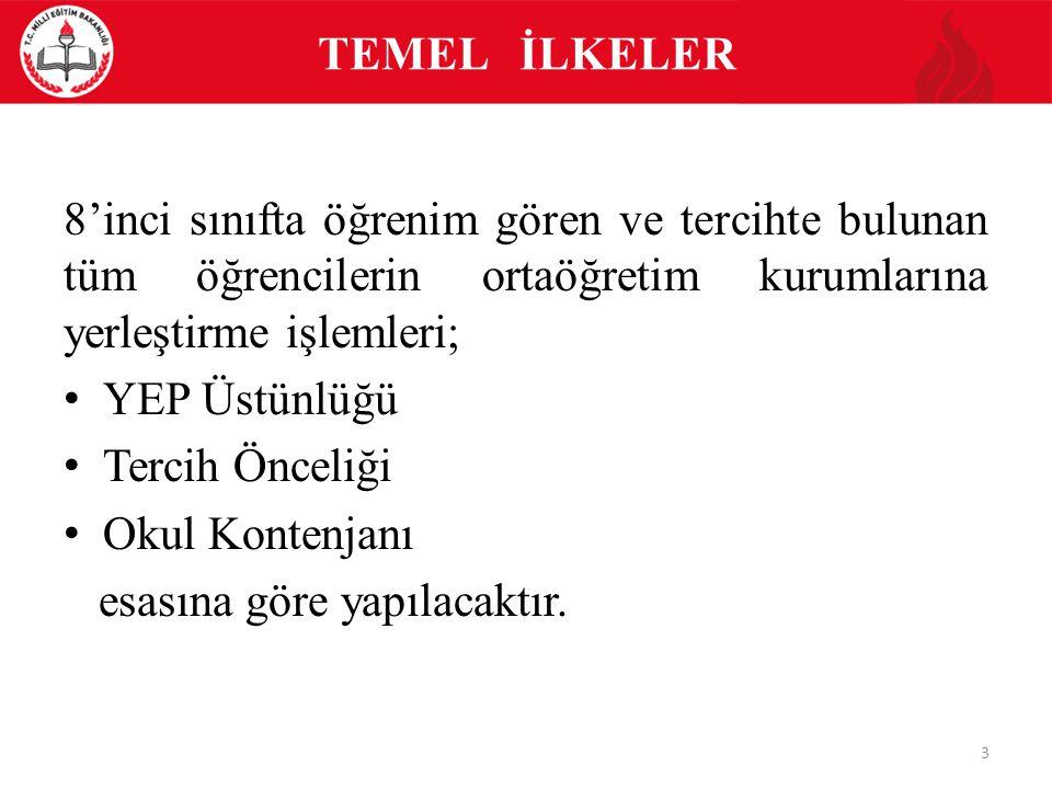 TEMEL İLKELER 8'inci sınıfta öğrenim gören ve tercihte bulunan tüm öğrencilerin ortaöğretim kurumlarına yerleştirme işlemleri;