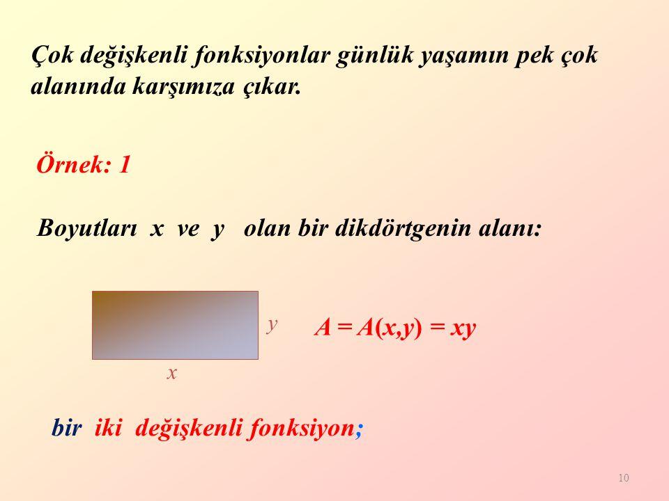 Boyutları x ve y olan bir dikdörtgenin alanı:
