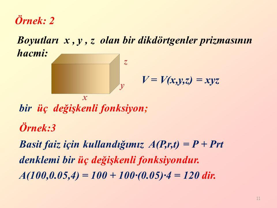 Boyutları x , y , z olan bir dikdörtgenler prizmasının hacmi: