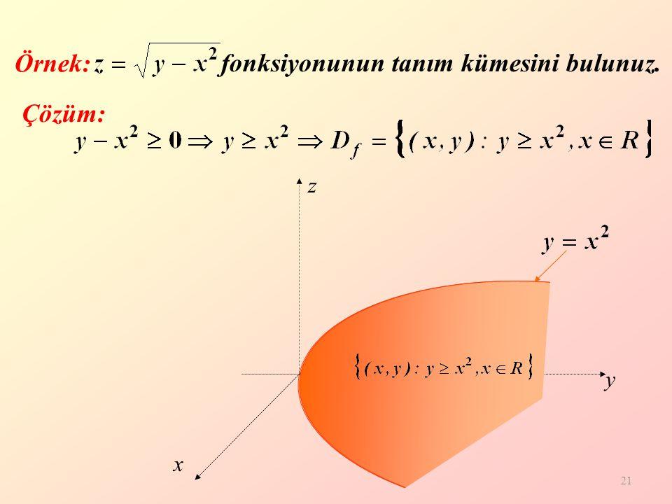 fonksiyonunun tanım kümesini bulunuz.
