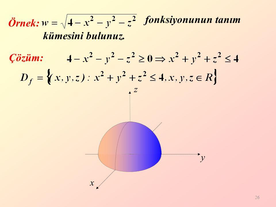 fonksiyonunun tanım kümesini bulunuz. Örnek: Çözüm: z y x