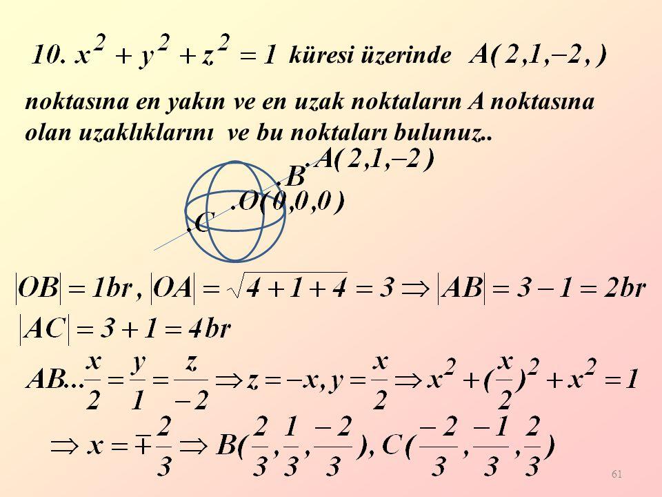 küresi üzerinde noktasına en yakın ve en uzak noktaların A noktasına olan uzaklıklarını ve bu noktaları bulunuz..