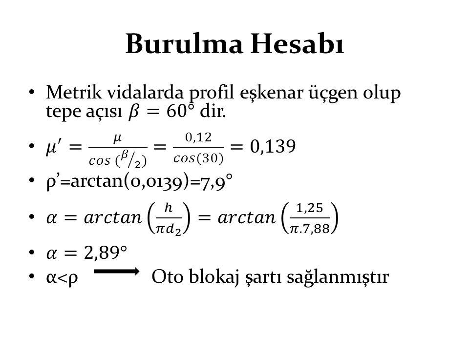 Burulma Hesabı Metrik vidalarda profil eşkenar üçgen olup tepe açısı 𝛽=60° dir. 𝜇 ′ = 𝜇 𝑐𝑜𝑠 ( 𝛽 2 ) = 0,12 𝑐𝑜𝑠(30) =0,139.