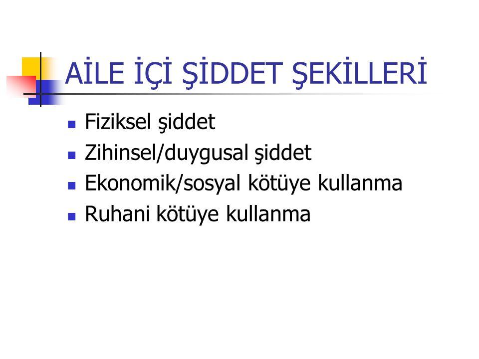 AİLE İÇİ ŞİDDET ŞEKİLLERİ