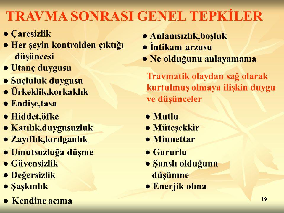 TRAVMA SONRASI GENEL TEPKİLER