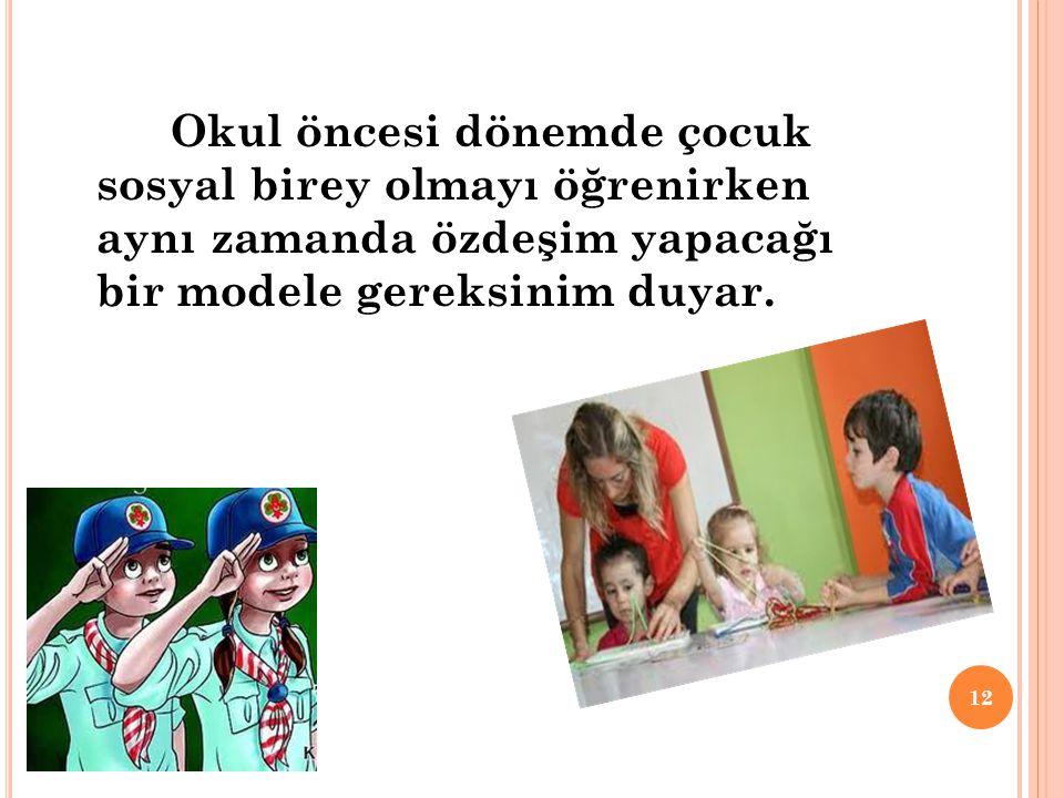 Okul öncesi dönemde çocuk sosyal birey olmayı öğrenirken aynı zamanda özdeşim yapacağı bir modele gereksinim duyar.