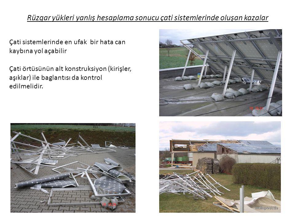 Rüzgar yükleri yanlış hesaplama sonucu çati sistemlerinde oluşan kazalar