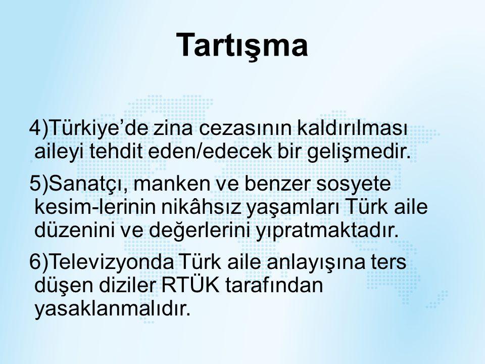 Tartışma Türkiye'de zina cezasının kaldırılması aileyi tehdit eden/edecek bir gelişmedir.
