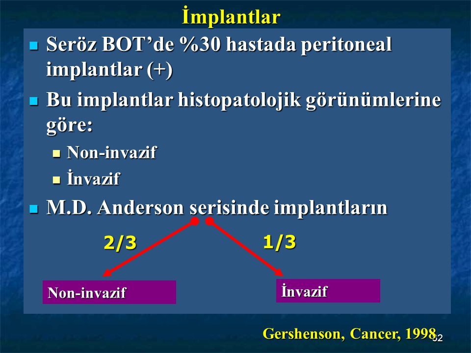 Seröz BOT'de %30 hastada peritoneal implantlar (+)