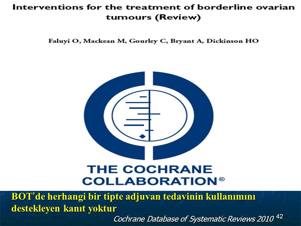 BOT'de herhangi bir tipte adjuvan tedavinin kullanımını destekleyen kanıt yoktur Cochrane Database of Systematic Reviews 2010