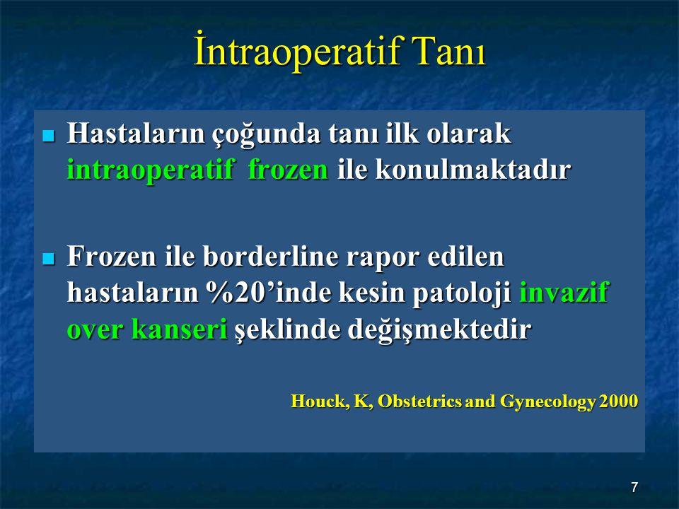 İntraoperatif Tanı Hastaların çoğunda tanı ilk olarak intraoperatif frozen ile konulmaktadır.