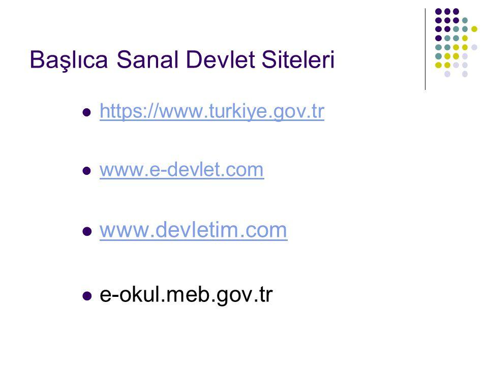 Başlıca Sanal Devlet Siteleri