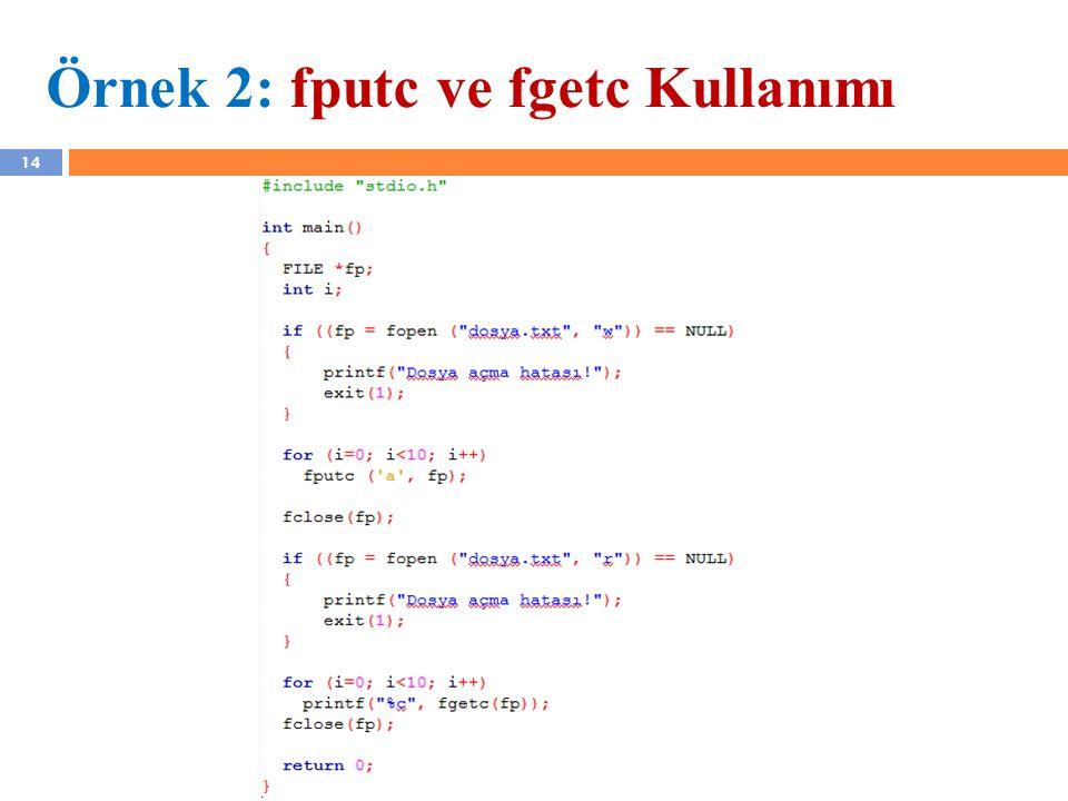 Örnek 2: fputc ve fgetc Kullanımı