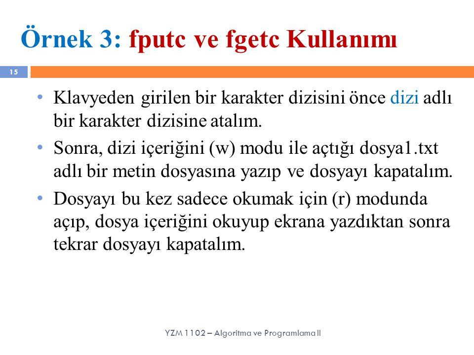 Örnek 3: fputc ve fgetc Kullanımı
