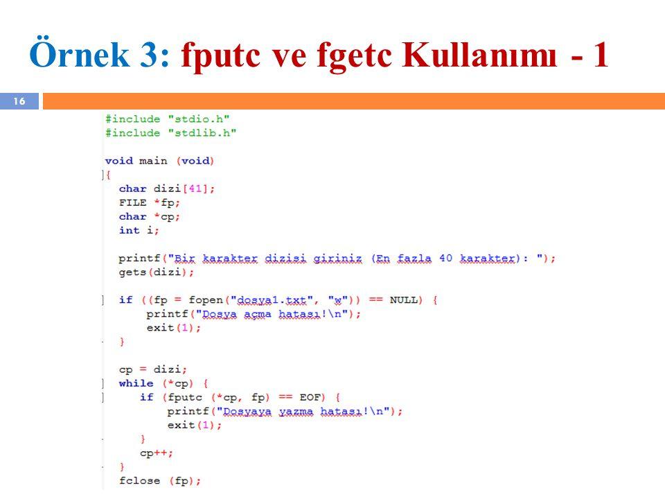 Örnek 3: fputc ve fgetc Kullanımı - 1