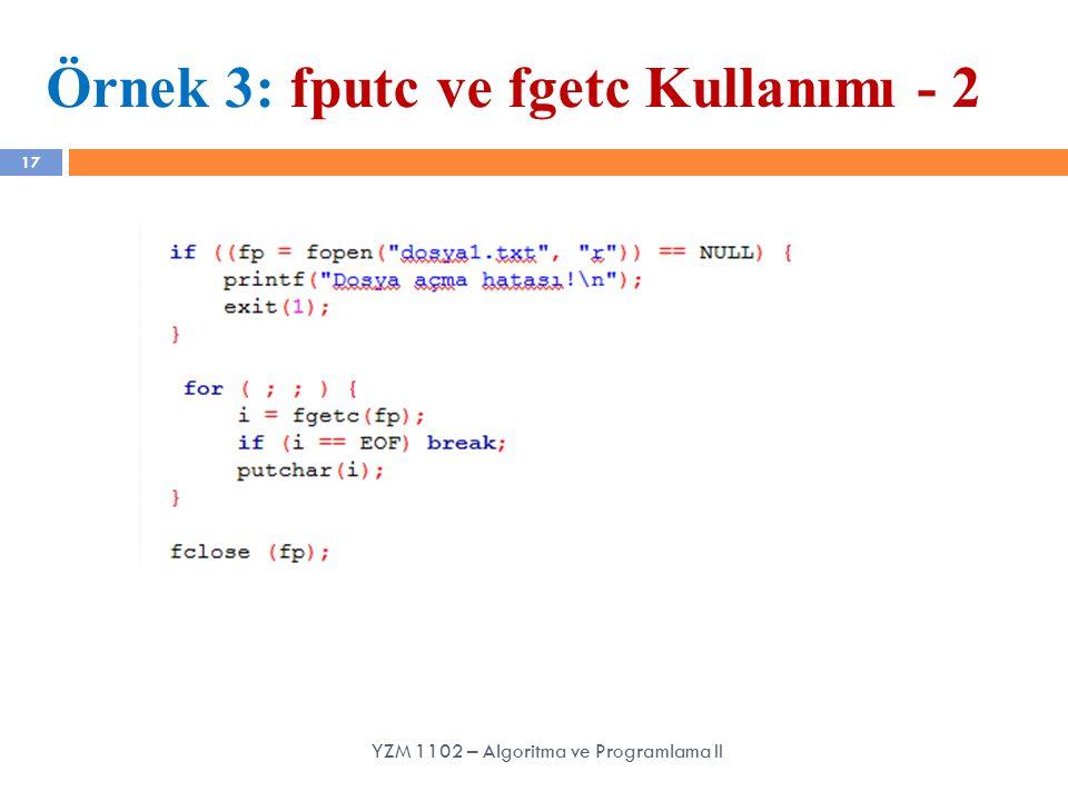 Örnek 3: fputc ve fgetc Kullanımı - 2