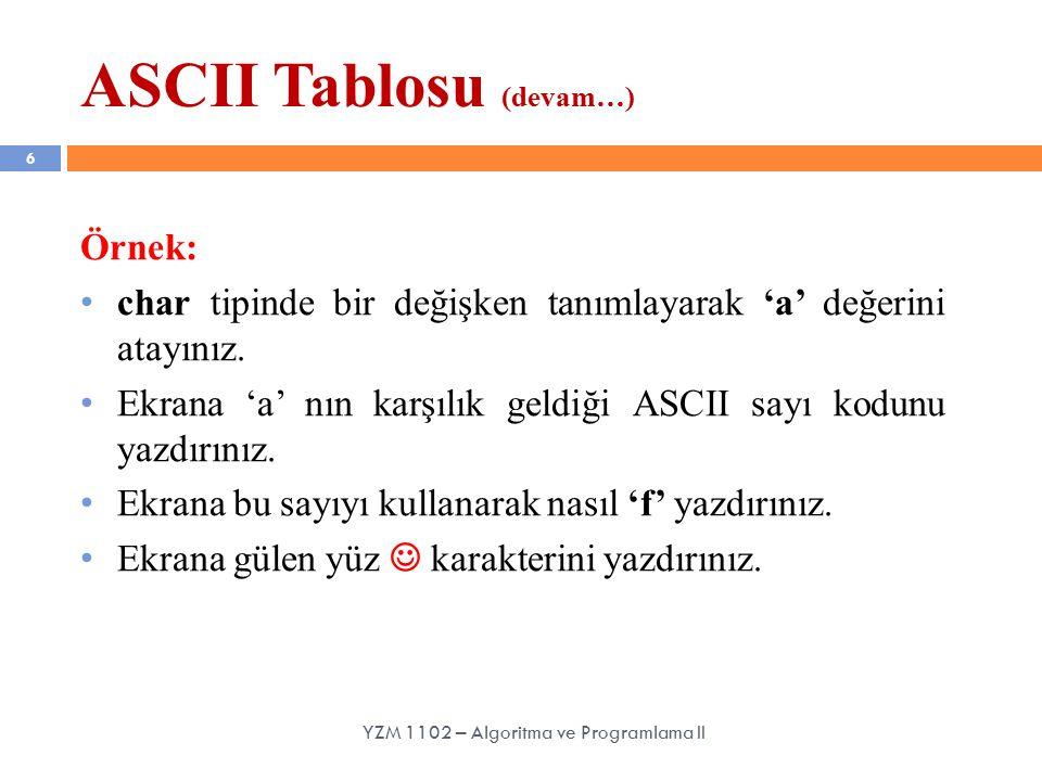ASCII Tablosu (devam…)