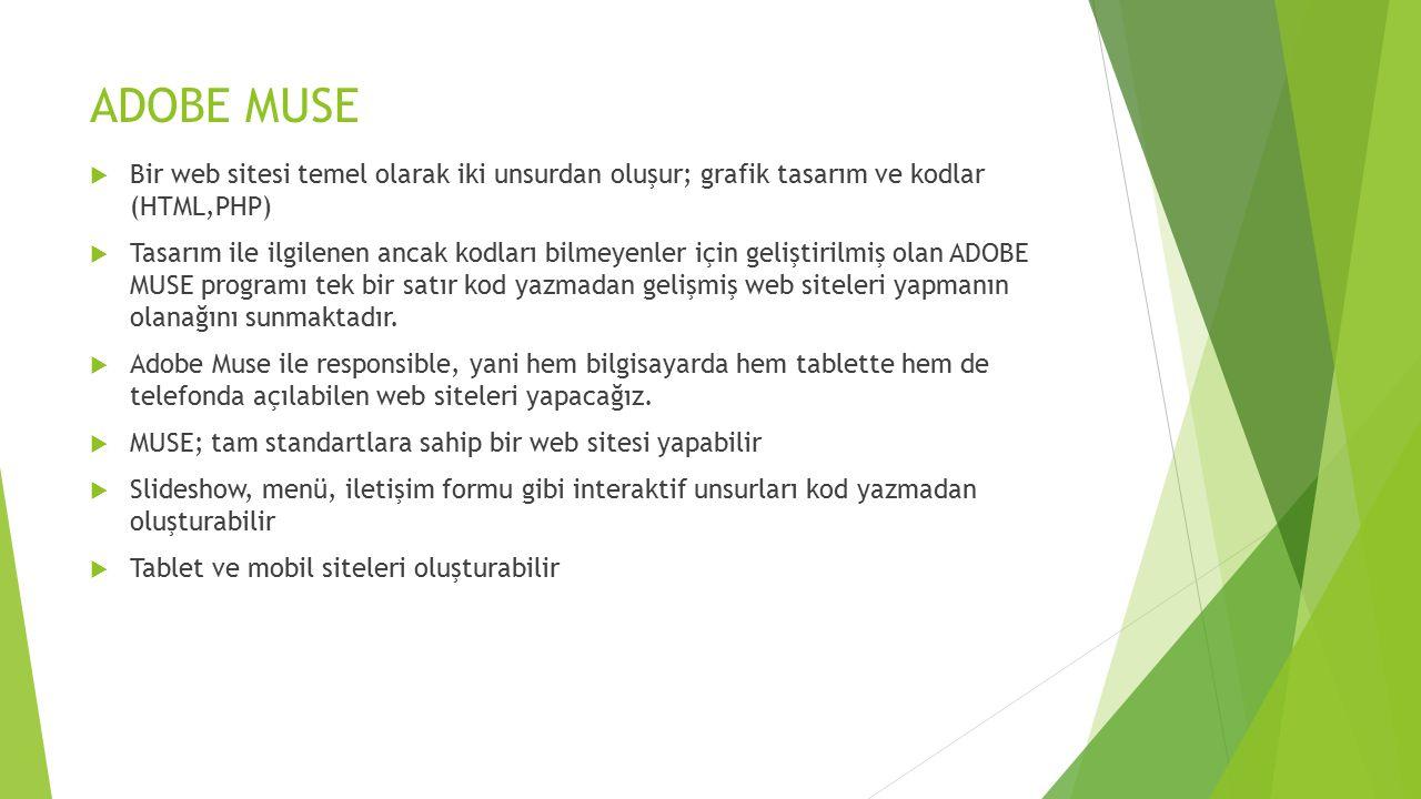 ADOBE MUSE Bir web sitesi temel olarak iki unsurdan oluşur; grafik tasarım ve kodlar (HTML,PHP)