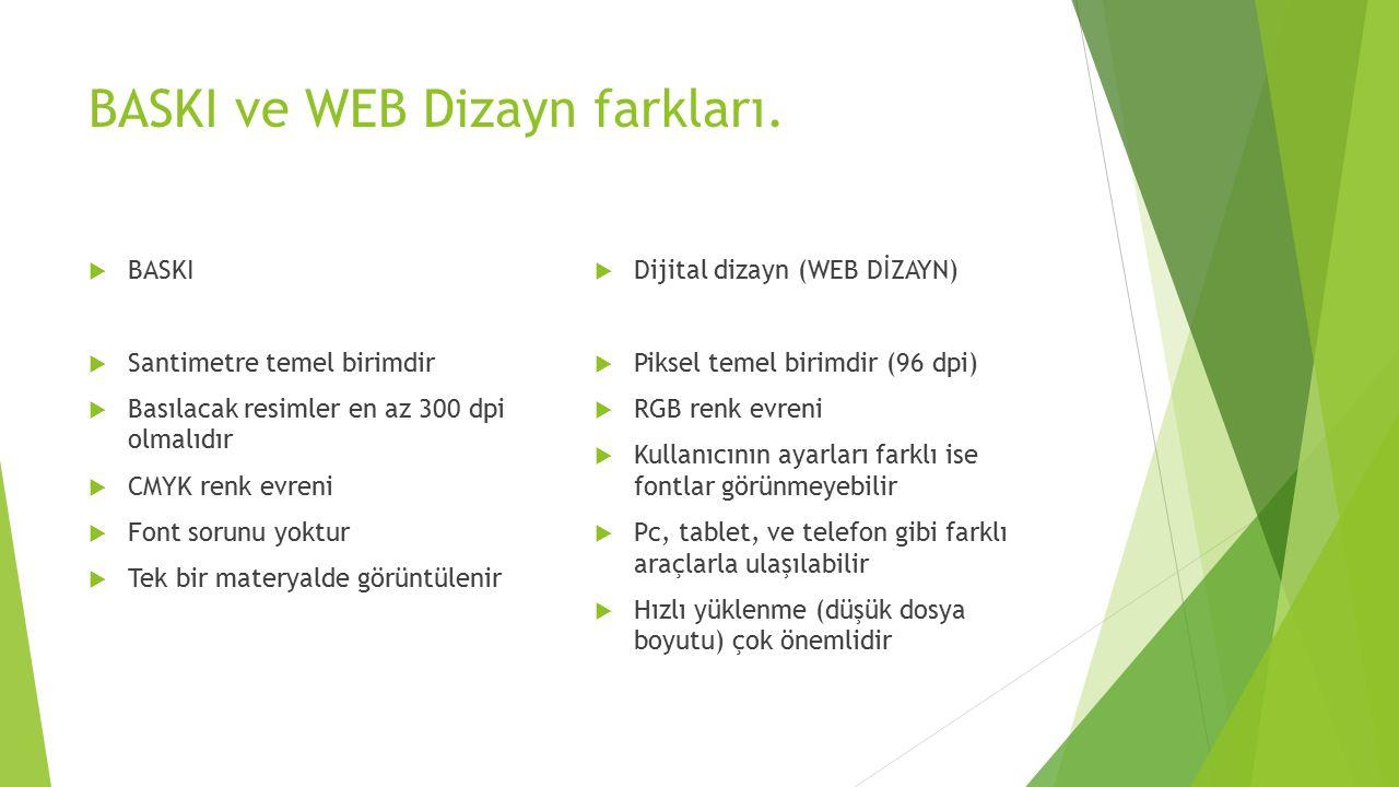 BASKI ve WEB Dizayn farkları.