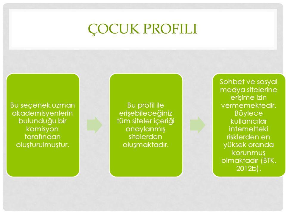 Çocuk profili Bu seçenek uzman akademisyenlerin bulunduğu bir komisyon tarafından oluşturulmuştur.