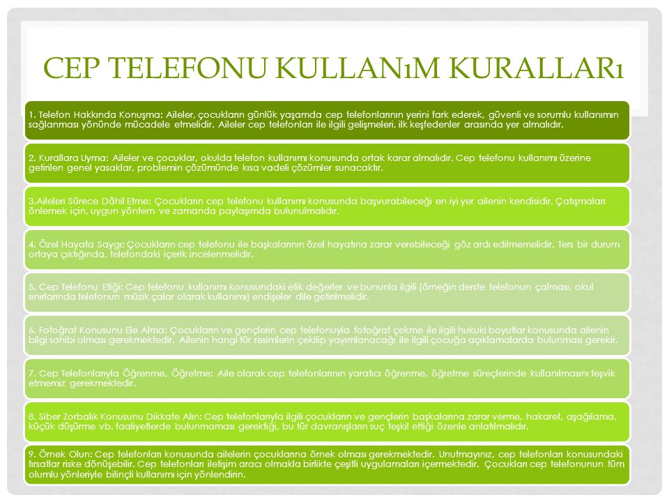 Cep Telefonu Kullanım Kuralları
