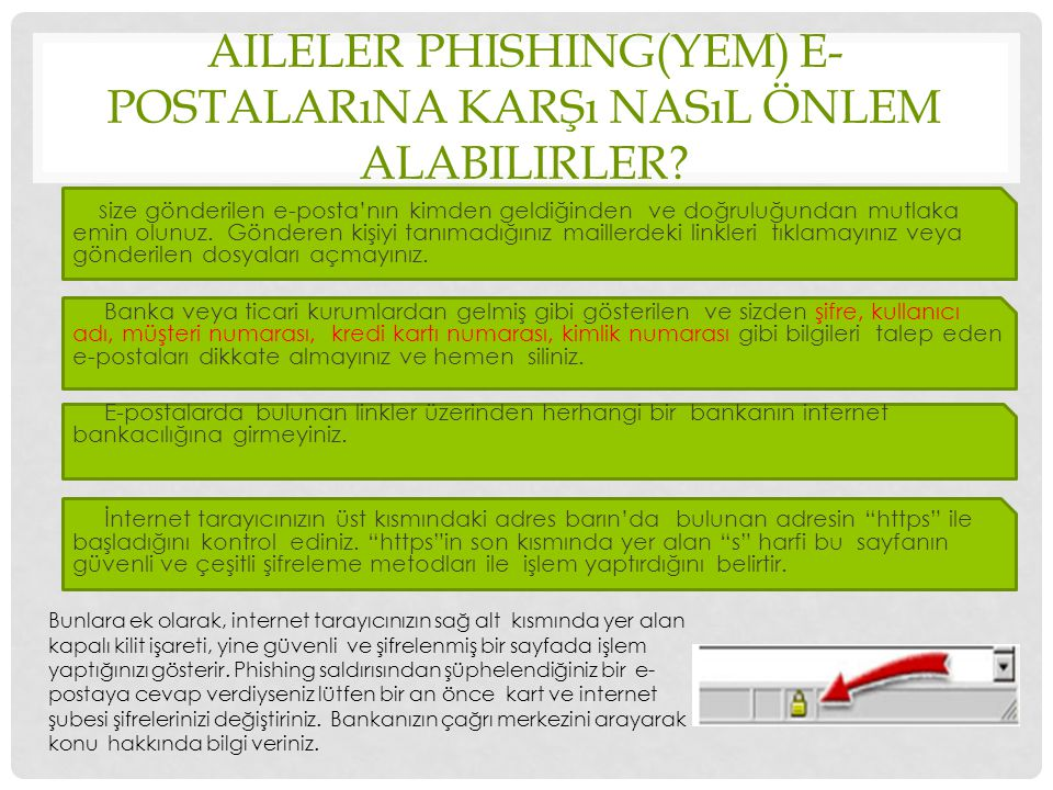 Aileler phishing(yem) e-postalarına karşı nasıl önlem alabilirler