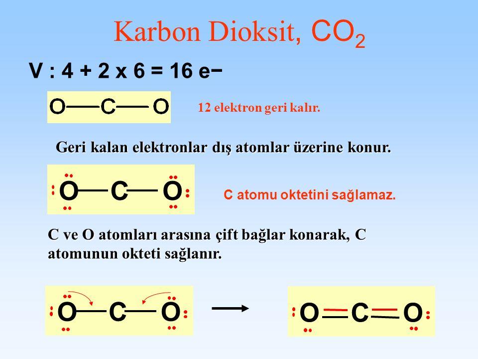 Karbon Dioksit, CO2 O C O C O C O V : 4 + 2 x 6 = 16 e−