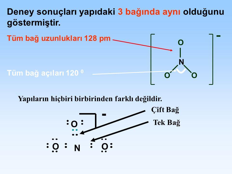 - Deney sonuçları yapıdaki 3 bağında aynı olduğunu göstermiştir. O N