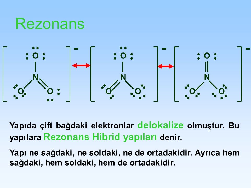 RezonansN. O. O. N. N. O. Yapıda çift bağdaki elektronlar delokalize olmuştur. Bu yapılara Rezonans Hibrid yapıları denir.