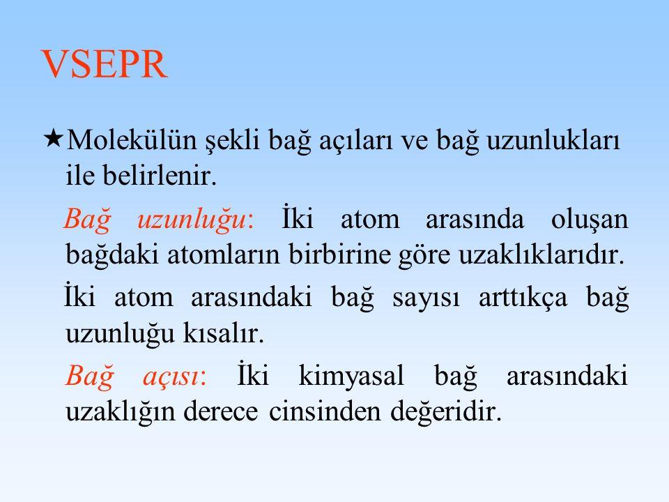 VSEPR Molekülün şekli bağ açıları ve bağ uzunlukları ile belirlenir.