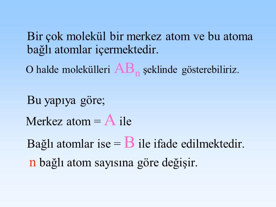 Bir çok molekül bir merkez atom ve bu atoma bağlı atomlar içermektedir.