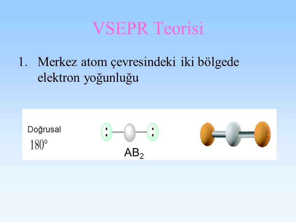 VSEPR Teorisi Merkez atom çevresindeki iki bölgede elektron yoğunluğu