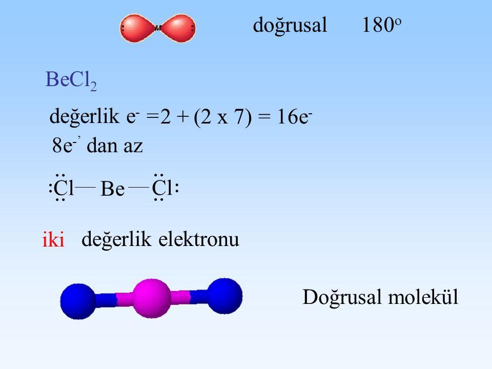 .. doğrusal 180o BeCl2 değerlik e- = 2 + (2 x 7) = 16e- 8e-' dan az Cl