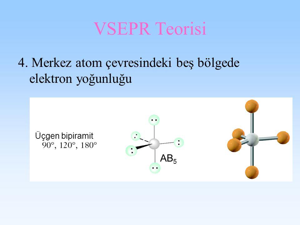 VSEPR Teorisi 4. Merkez atom çevresindeki beş bölgede elektron yoğunluğu Üçgen bipiramit AB5