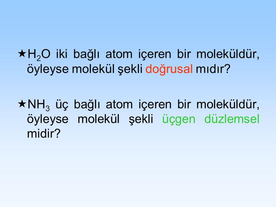 H2O iki bağlı atom içeren bir moleküldür, öyleyse molekül şekli doğrusal mıdır