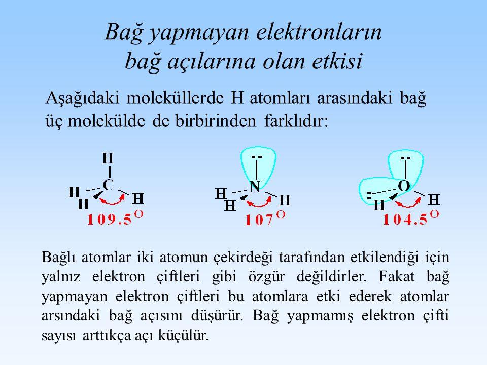 Bağ yapmayan elektronların bağ açılarına olan etkisi