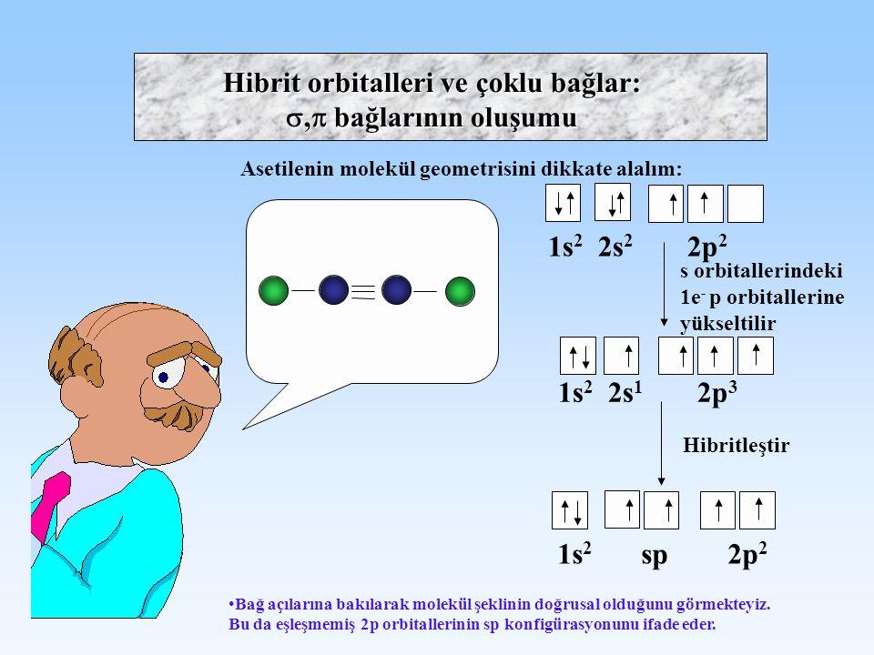 Hibrit orbitalleri ve çoklu bağlar: , bağlarının oluşumu