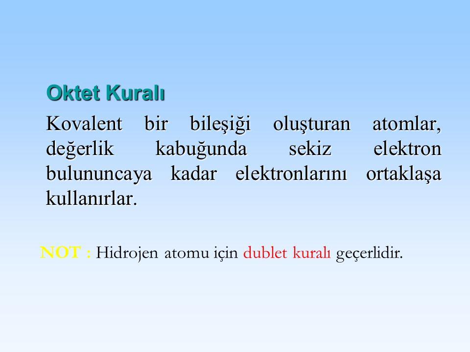 Oktet Kuralı Kovalent bir bileşiği oluşturan atomlar, değerlik kabuğunda sekiz elektron bulununcaya kadar elektronlarını ortaklaşa kullanırlar.