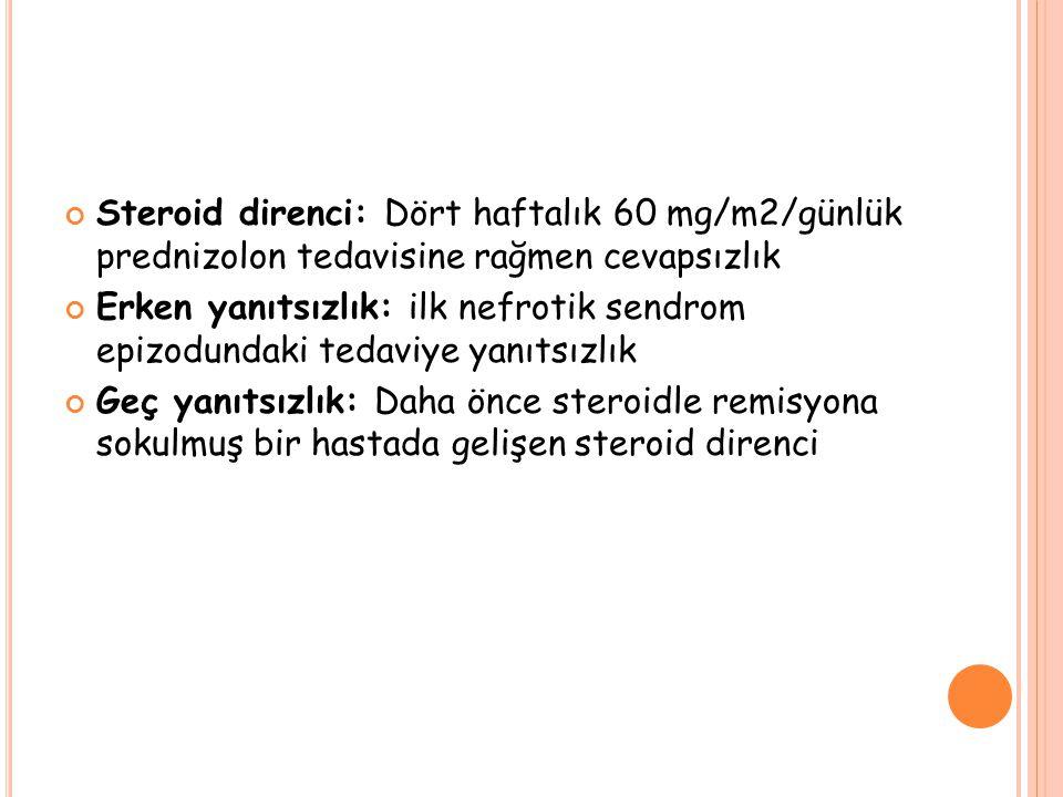 Steroid direnci: Dört haftalık 60 mg/m2/günlük prednizolon tedavisine rağmen cevapsızlık