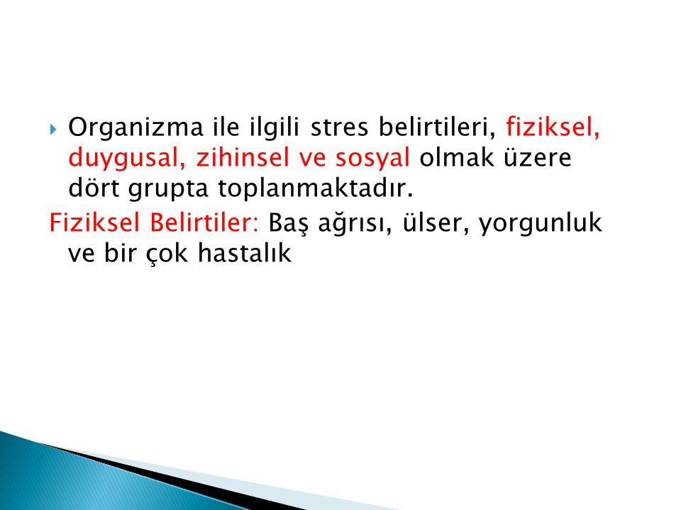 Organizma ile ilgili stres belirtileri, fiziksel, duygusal, zihinsel ve sosyal olmak üzere dört grupta toplanmaktadır.