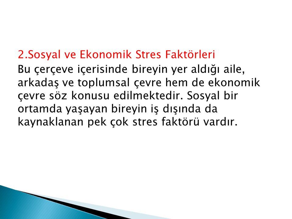 2.Sosyal ve Ekonomik Stres Faktörleri Bu çerçeve içerisinde bireyin yer aldığı aile, arkadaş ve toplumsal çevre hem de ekonomik çevre söz konusu edilmektedir.