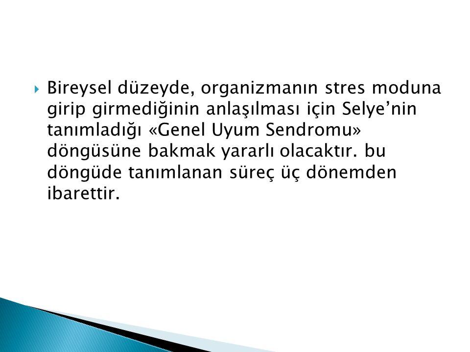 Bireysel düzeyde, organizmanın stres moduna girip girmediğinin anlaşılması için Selye'nin tanımladığı «Genel Uyum Sendromu» döngüsüne bakmak yararlı olacaktır.