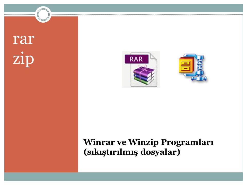 Winrar ve Winzip Programları (sıkıştırılmış dosyalar)