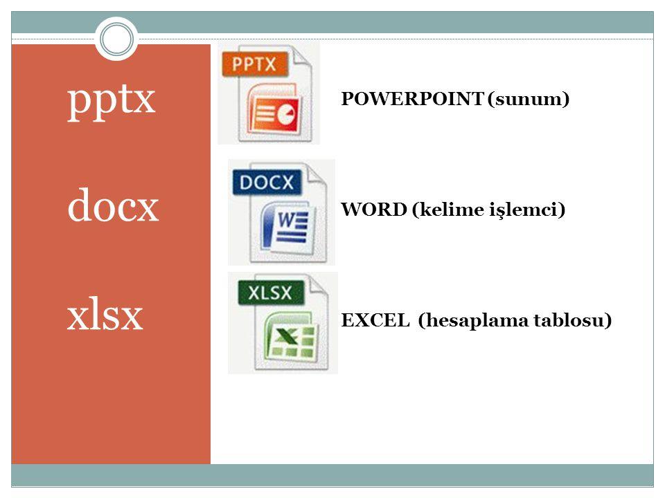 POWERPOINT (sunum) WORD (kelime işlemci) EXCEL (hesaplama tablosu)
