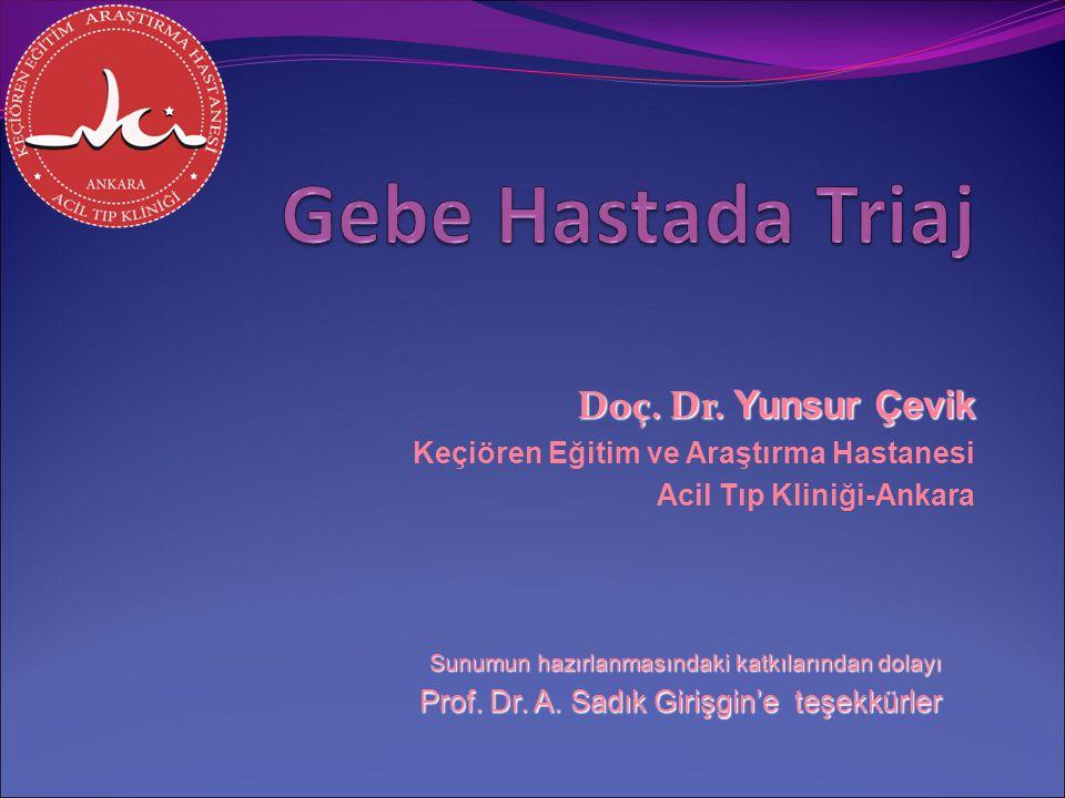 Gebe Hastada Triaj Doç. Dr. Yunsur Çevik