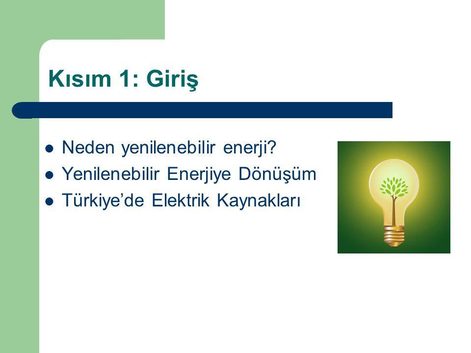 Kısım 1: Giriş Neden yenilenebilir enerji