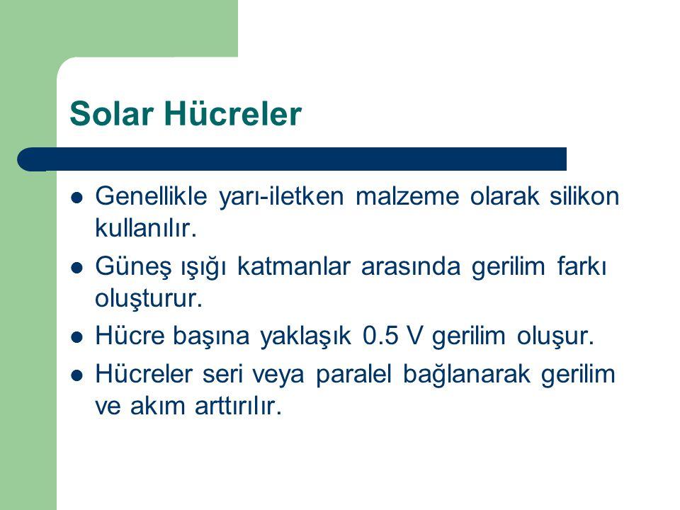 Solar Hücreler Genellikle yarı-iletken malzeme olarak silikon kullanılır. Güneş ışığı katmanlar arasında gerilim farkı oluşturur.